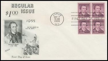 1052 / $1 Patrick Henry : Liberty Series Block Of 4 Fleetwood 1955 FDC
