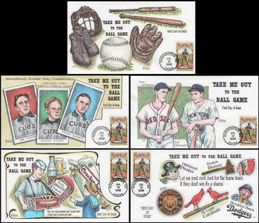 4341 / 42c Take Me Out to the Ball Game Complete Set Of 5 Collins Hand-Painted 2008 FDCs