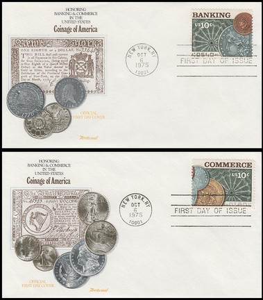 1577 - 1578 / 10c Banking and Commerce Set of 2 Fleetwood 1988 FDCs