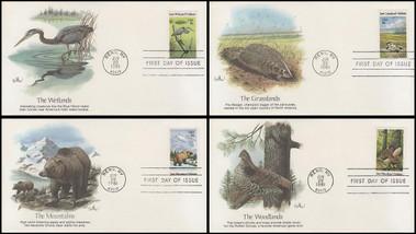 1921 - 1924 / 18c Preservation of Wildlife Habitat Set of 4 Fleetwood 1981 FDCs