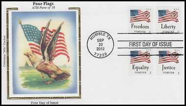 4706 - 4709 / 45c Four Flags ATM All 4 on 1 Colorano Silk 2012 FDC