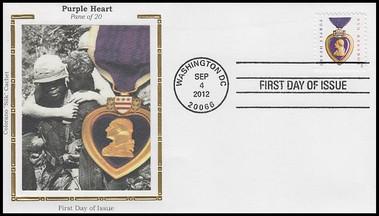 4704 / 45c Purple Heart 2012 Colorano Silk FDC