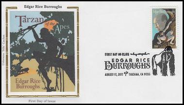 4702 / 45c Edgar Rice Burroughs : Tarzan Of The Apes 2012 Colorano Silk FDC