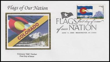 4273 - 4282 / 42c Flags of Our Nation Set of 10 PNC Colorano Silk 2008 FDCs