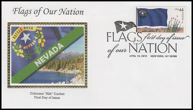 4303 - 4312 / 44c Flag Of Our Nation Set of 10 Colorano Silk 2010 FDCs