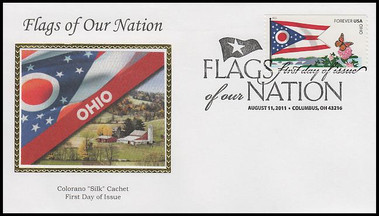 4313 - 4322 / 44c Flag Of Our Nation Set of 10 Colorano Silk 2011 FDCs