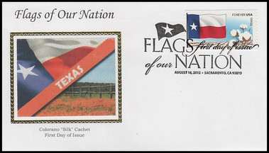 4323 - 4332 / 45c Flags Of Our Nation Set of 10 Colorano Silk 2012 FDCs