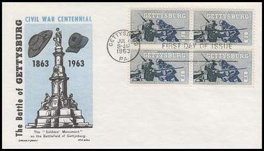 1180 / 5c Battle of Gettysburg : Civil War Centennial Block 1963 Cachet Craft / Ken Boll FDC