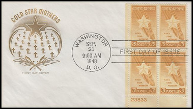 0969 / 3c Gold Star Mothers Plate Block 1948 House of Farnam First Day Cover