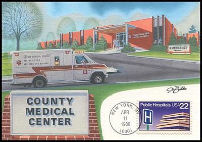 2210 / 22c Public Hospitals 1986 Fleetwood First Day of Issue Maximum Card