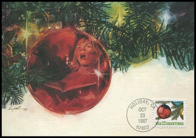 2368 / 22c Christmas Ornaments : Christmas Series 1987 Fleetwood First Day of Issue Maximum Card