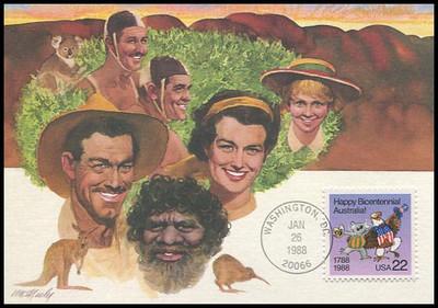 2370 / 22c Australia Bicentennial Celebration 1988 Fleetwood First Day of Issue Maximum Card