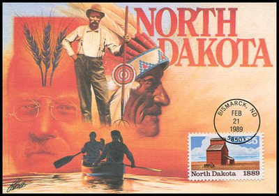 2403 / 25c North Dakota Statehood : Statehood Series 1989 Fleetwood First Day of Issue Maximum Card
