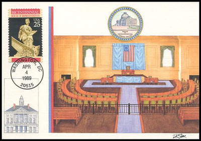2412 / 25c U.S. House of Representatives Constitution Bicentennial Series 1989 Fleetwood First Day of Issue Maximum Card