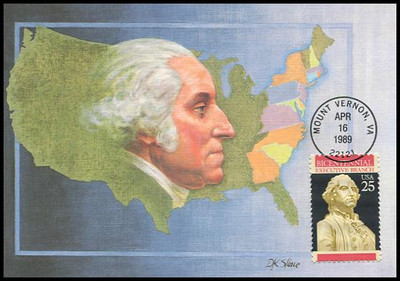 2414 / 25c Executive Branch - George Washington Constitution Bicentennial Series 1989 Fleetwood First Day of Issue Maximum Card