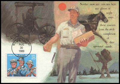 2420 / 25c Letter Carriers 1989 Fleetwood First Day of Issue Maximum Card