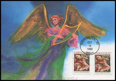 2427 - 2427a / 25c Madonna and Child Combo Christmas Series 1989 Fleetwood First Day of Issue Maximum Card