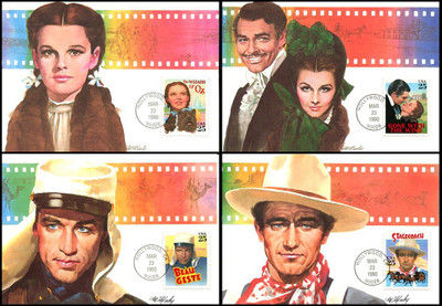 2445 - 2448 / 25c Classic Films Set of 4 Fleetwood 1990 First Day of Issue Maximum Card