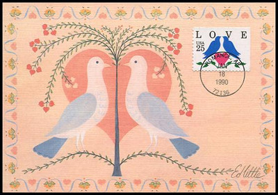 2441 / 25c Lovebirds and Heart Booklet Single Love Series 1990 Fleetwood First Day of Issue Maximum Card