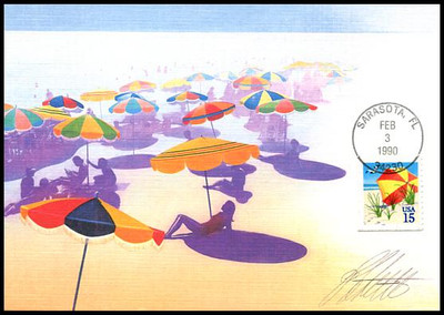 2443 / 15c Beach Umbrella Booklet Single 1990 Fleetwood First Day of Issue Maximum Card