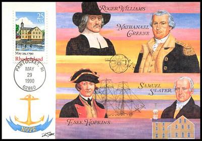2348 / 25c Rhode Island : Bicentennial Series 1990 Fleetwood First Day of Issue Maximum Card