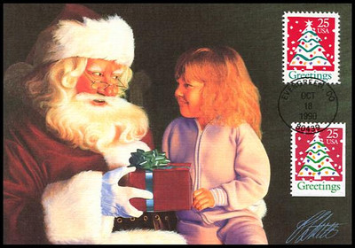 2515 - 2516 / 25c Christmas Tree Sheet & Booklet Single Combo : Christmas Series 1990 Fleetwood First Day of Issue Maximum Card