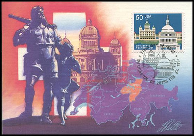 2532 / 50c Founding of Switzerland 1991 Fleetwood First Day of Issue Maximum Card