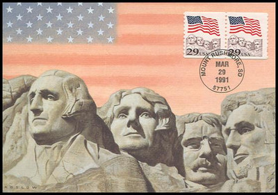 2523 / 29c Flag over Mt. Rushmore Coil Pair 1991 Fleetwood First Day of Issue Maximum Card