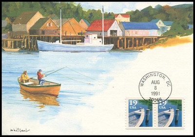 2529 / 19c Fishing Boat Coil Pair 1991 Fleetwood First Day of Issue Maximum Card
