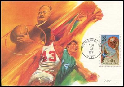 2560 / 29c Basketball Centennial 1991 Fleetwood First Day of Issue Maximum Card