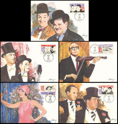 2562 - 2566 / 29c Comedians Set of 5 Fleetwood 1991 First Day of Issue Maximum Card