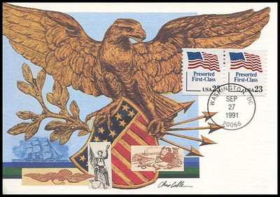 2605 / 23c Flag Presorted First-Class Coil Pair 1991 Fleetwood First Day of Issue Maximum Card