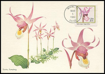 2076 - 2079 / 20c Orchids Set of 4 Fleetwood 1984 Maximum Card