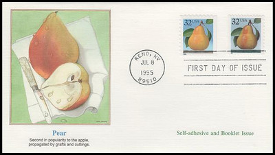 2488 & 2494 / 32c Pear Self - Adhesive & Booklet Combo 1995 Fleetwood FDC
