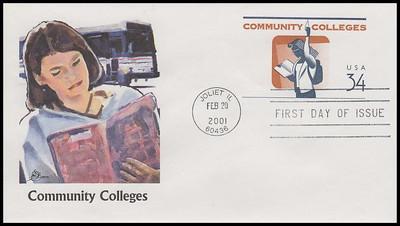 U648 / 34c Community Colleges 6¾ Postal Stationary Envelope 2001 Fleetwood FDC