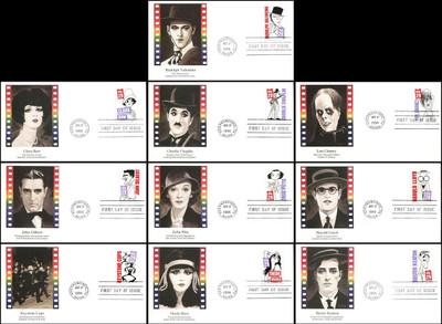 2819 - 2828 / 29c Stars of the Silent Screen Set of 10 Fleetwood 1994 FDCs