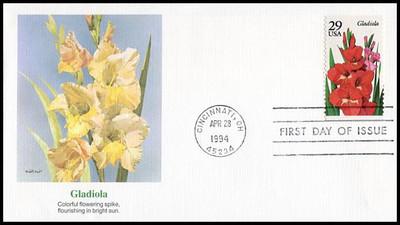 2829 - 2833 / 29c Summer Garden Flowers Booklet Set of 5 Fleetwood 1994 FDCs