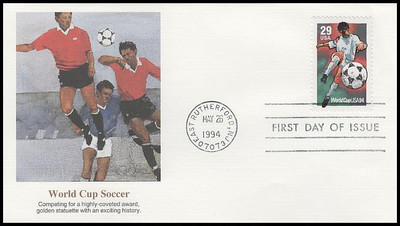 2834 - 2836 /  29c, 40c, 50c World Cup Soccer Championships Set of 3 Fleetwood 1994 FDCs