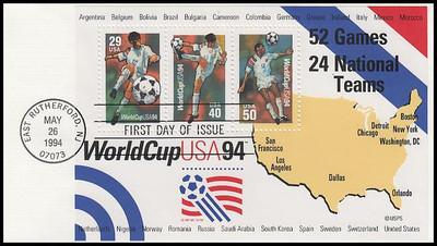 2837 / 29c, 40c, 50c World Cup Soccer Championships Souvenir Sheet 1994 Fleetwood FDC