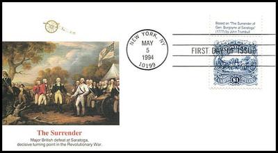 2590 / $1 Surrender of Burgoyne Tab #1 Fleetwood 1994 FDC