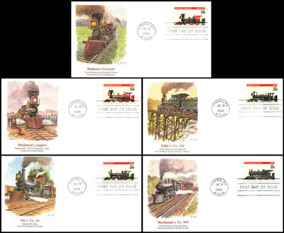 2843 - 2847 / 29c Locomotives Set of 5 Fleetwood 1994 FDCs