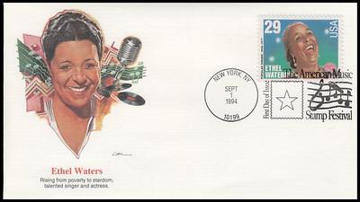 2849 - 2853 / 29c Popular Singers : American Music Series Set of 5 Fleetwood 1994 FDCs