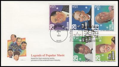 2853a / 29c Popular Singers Se-Tenant Strip of 5 : American Music Series 1994 Fleetwood FDC