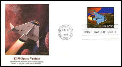 2543 / $2.90 Priority Mail Futuristic Space Shuttle 1993 Fleetwood FDC