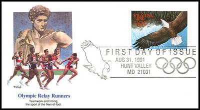 2542 / $14 Express Mail Eagle in Flight International Rate 1991 Fleetwood FDC