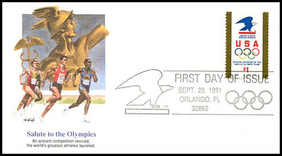 2539 / $1 USPS Logo & Olympic Rings 1991 Fleetwood FDC