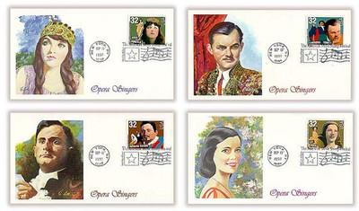 3154 - 3157 / 32c Opera Singers Set of 4 Fleetwood 1997 First Day Covers