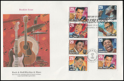 2737a / 29c Rock & Roll / Rhythm & Blues Musicians Booklet of 8 Oversized Large Format 1993 Fleetwood FDC