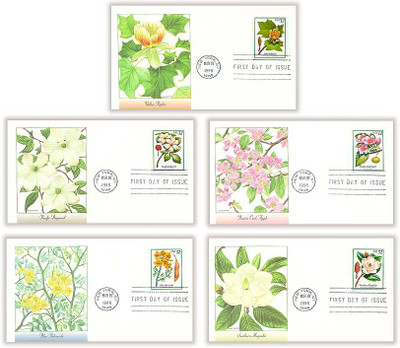 3193 -  3197 / 32c Flowering Trees Set of 5 Fleetwood 1998 First Day Covers