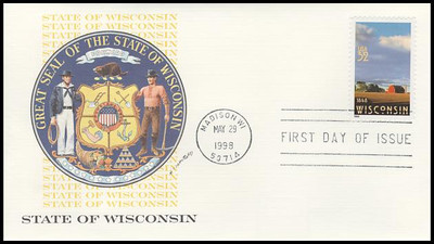 3206 / 32c Wisconsin Statehood - 150th Anniversary 1998 Fleetwood First Day Cover